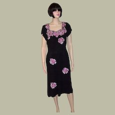 1940's Black Crepe Dress with Large Fuchsia Colored Sequined Flowers
