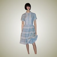 1950's Blue &  White Rockabilly Dress