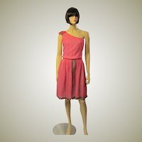 1920's Cerise Colored Chiffon Dress with Silver Metallic Lace