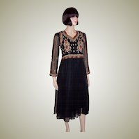 Elegant Black Chiffon Dress with Elaborate Embroidery & Beadwork