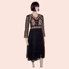 Elegant Black Chiffon Dress with Elaborate Embroidery & Beadwork