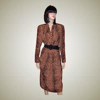 1980's Always Fashionable Animal Print Shirtwaist Dress