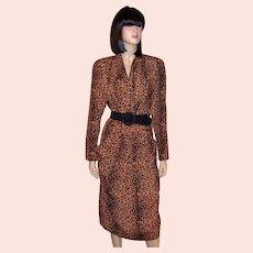 1980's Always Fashionable Animal Print Shirtwaist Dress