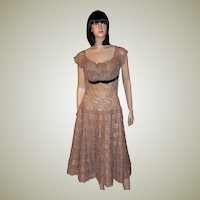 Henry A. Conder-1950's Mocha Lace Cocktail Dress
