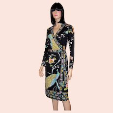 """1960's-1970's Black Wrap Dress with Peacock & Floral Designs by """"Maurice"""""""