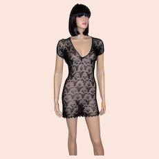 Giorgio Sant' Angelo-Black Stretch Knit Lace Mini-Dress