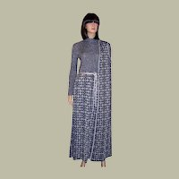 1960's Louis Feraud Maxi-Dress and  Tunic Ensemble in Navy and Silver