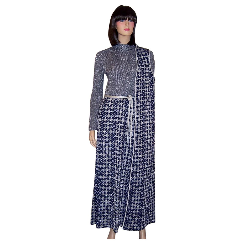69a2e3307 1960's Louis Feraud Maxi-Dress and Tunic Ensemble in Navy and Silver :  Patricia Jon's Finest | Ruby Lane