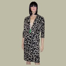 Stunning 1960's Black & White Dress & Jacket Ensemble