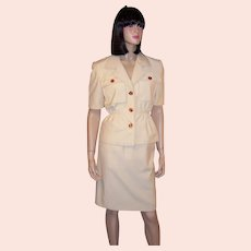 Oscar De la Renta-Summertime Ivory Safari Suit