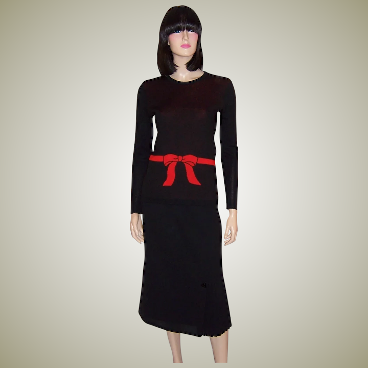 7fe937a5752 Miss Dior-France-Black Tricot Sweater with Red Bow and Belt Designed :  Patricia Jon's Finest | Ruby Lane