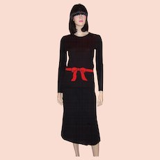 Miss Dior-France-Black Tricot Sweater with Red Bow and Belt Designed by YSL