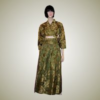 Moss Green & Gold Brocade, Custom-Made Asian Ensemble