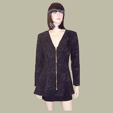 Black Fitted Jacket and Mini-Skirt Ensemble by Intrigue