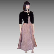 1950's Elegant Muted Pink and Black Velvet Gown with Bolero Jacket