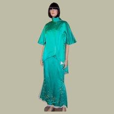 Viridian Green Beaded Gown & Jacket Ensemble-Original Bernetti New York