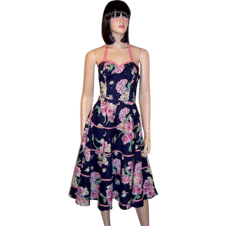 Fanciful 50's Navy and Pink Sundress with Halter Neckline