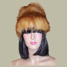 1960's Vintage, Red, White, & Gray Fox Fur Hat