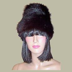 1960's Black Fox Fur Hat