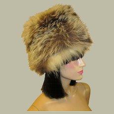 1960's, Brown, White & Black Variegated Fox Fur Hat