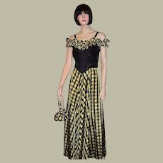 1940's Black & Yellow Checked Evening Gown with Matching Purse