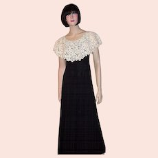 1970's Black Gown with Lace Collar by Cirette of California