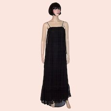 1970's Black Lace Sleeveless Gown Designed by Judy Caliendo