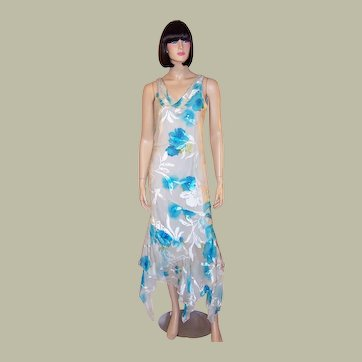 Printed Turquoise & White Silk Gown with Beadwork