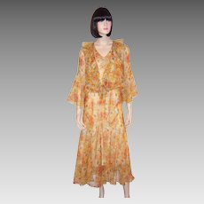 Art Deco Orange & Yellow Floral Printed Chiffon Ensemble