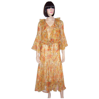 Art Deco Orange & Yellow Floral Printed Chiffon Ensemble