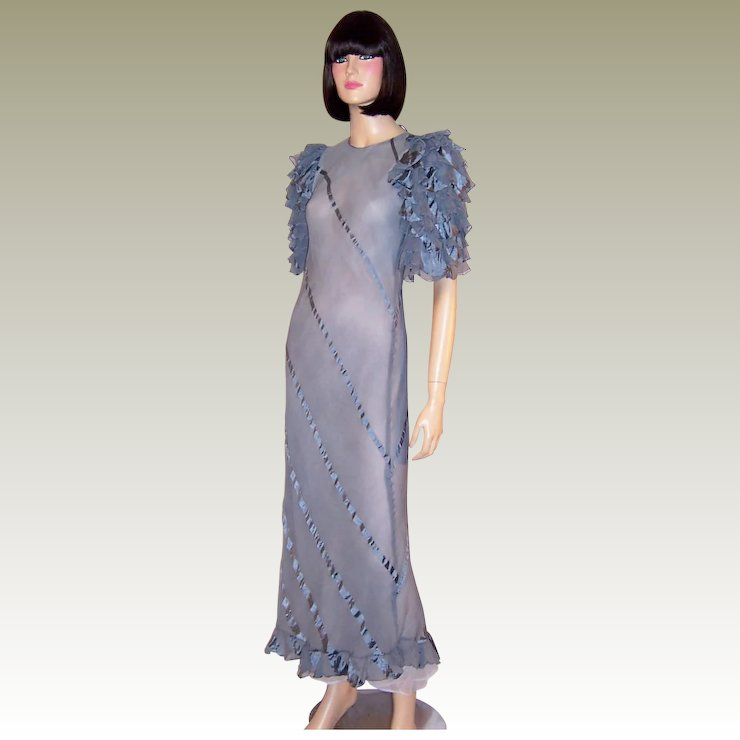 1930\'s Periwinkle Blue Evening Gown with Ruffled Sleeves : Patricia ...