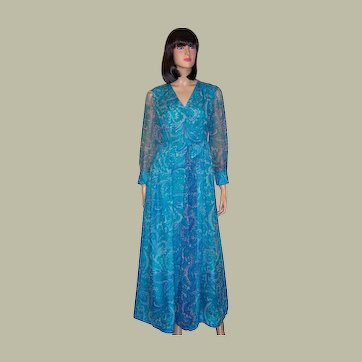 1960's Turquoise Printed Paisley Chiffon Gown