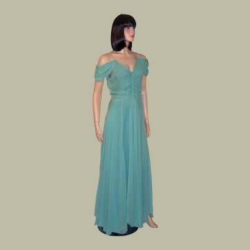 1930's Pale Turquoise Chiffon Gown, Superb & Simply Feminine