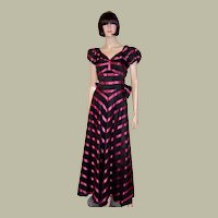 Early 1940's, Striped Black & Magenta Taffeta Striped Gown