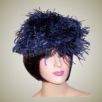 1940's Balch Price & Co. Navy Ostrich Feathered Plume Hat