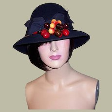 1960's Navy Woolen Felt Cloche-Style Hat with Wide Brim & Cherries by Frank Olive