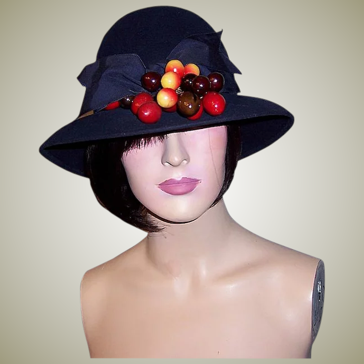 fb0df9d516565e 1960's Navy Woolen Felt Cloche-Style Hat with Wide Brim & Cherries by :  Patricia Jon's Finest | Ruby Lane