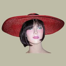 1930's Red Finely Woven Straw Cartwheel Hat with Black Grosgrain Ribbon
