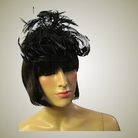 1950's Black Feathered Hat