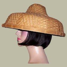Large Chinese Banana Leaf and Bamboo Lattice Hat