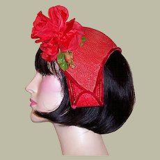 Vintage Vivid Red Straw Hat Embellished with a Single Red Rose