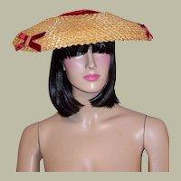 1940's Unusual  Red Velvet & Straw Cartwheel Hat