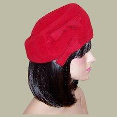 Herbert Bernard Original-New York, Cherry Red Wool Felt Chapeau