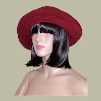 Burgundy Cotton Woven Floppy Hat-Made in Italy