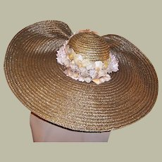 One-Of-A-Kind, Extraordinarily Large Beach Hat Embellished with Sea Shells
