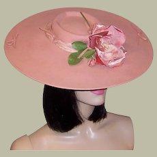 Depression Era-Pink Wool Felt Platter Hat with Rose Blossom