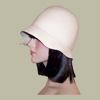 Frank's Girl-White Woolen Felt Cloche Designed by Frank Olive