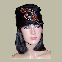 1920's Custom-Made Black Silk Toque with Beaded Embellishments
