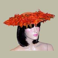 Orange Velvet Cartwheel Hat with Silk Flowers