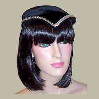 Art Deco Simple & Chic Black Velvet & Rhinestone Chapeau